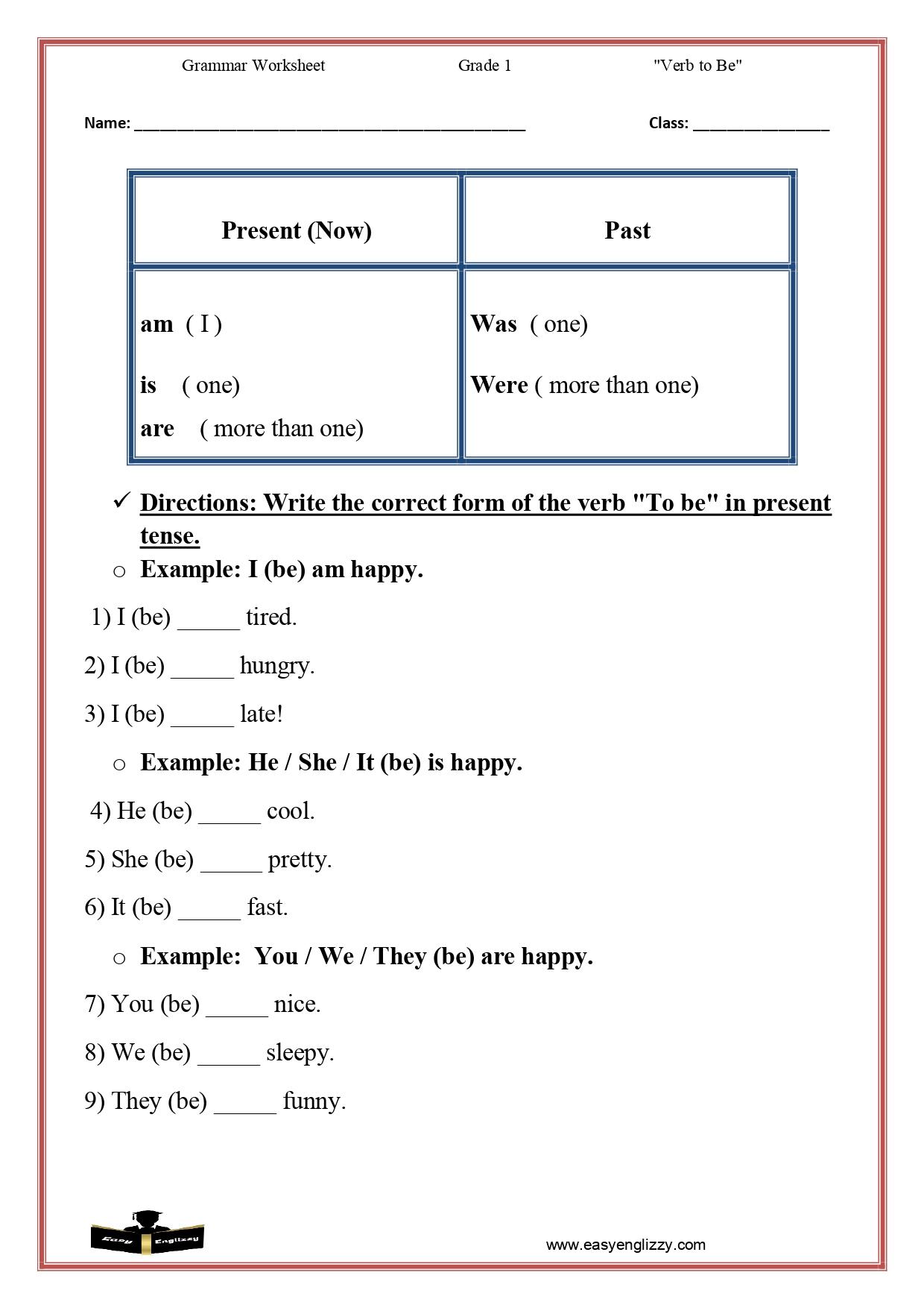 Grammar Worksheet Grade 1 Easy Englizzy